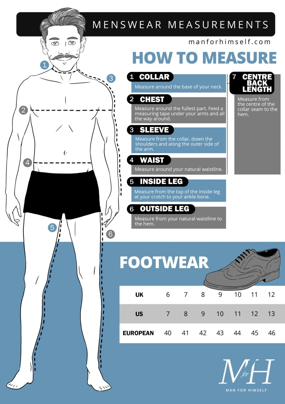 Men's Size Guide | How To Measure Your Body | Man For Himself