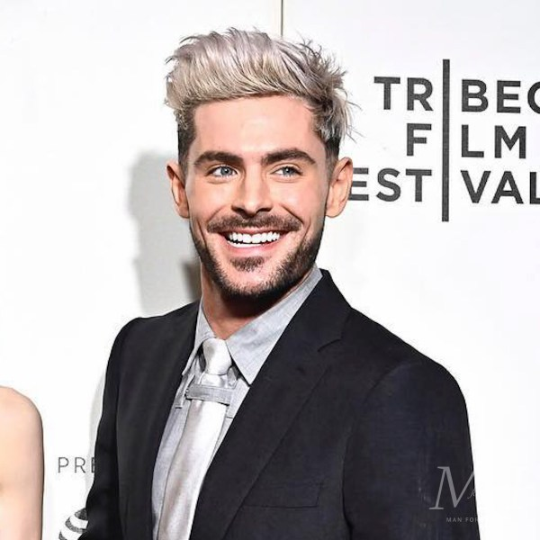 Zac Efron: Bleached Blonde Long Quiff Hairstyle