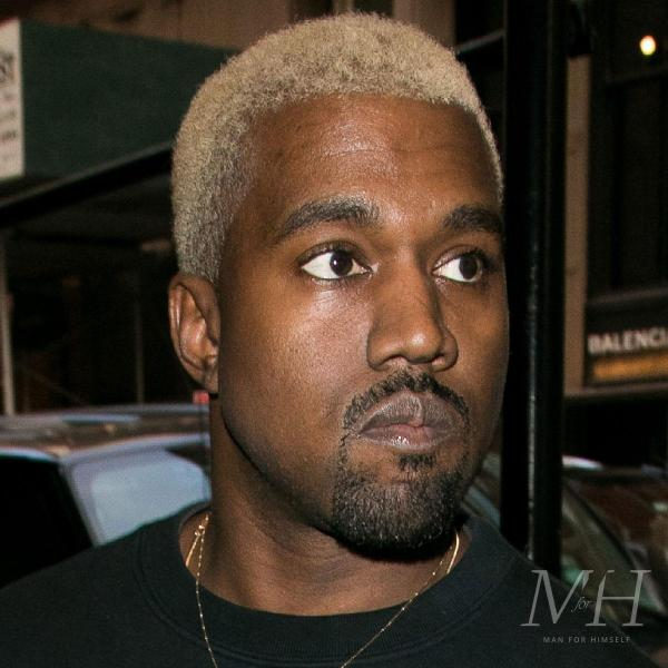 Kanye West: Dyed Platinum Blonde Afro Buzz Cut