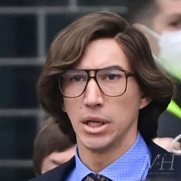 adam driver medium length side parted 90s hairstyle house of gucci