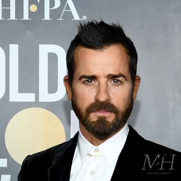 Justin Theroux: Widow's Peak with A Quiff Hairstyle