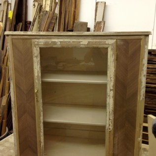 Antique cupboard stripped and ready to be turned into a patchwork backbar
