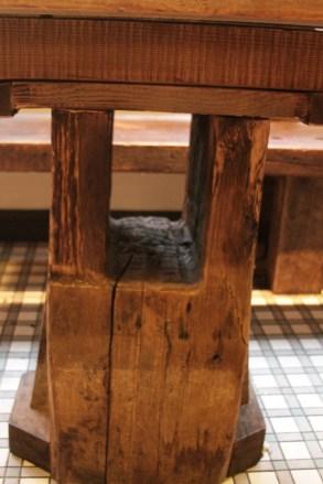 Restaurant table base detail.