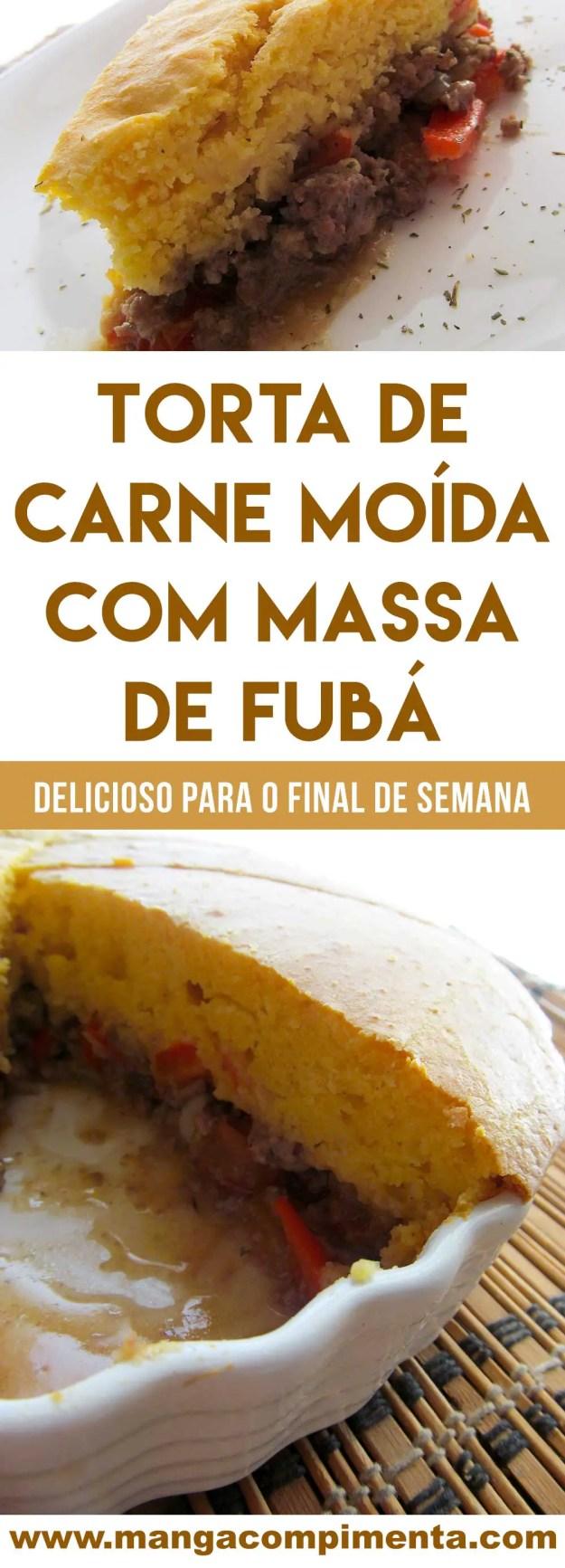 Receita de Torta de Carne Moída com Massa de Fubá - um prato delicioso para lanchar ou almoçar!