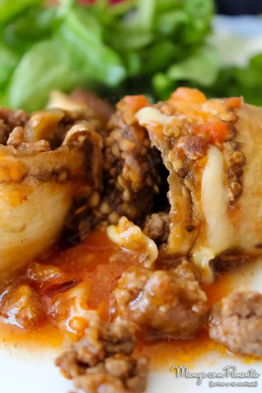 Rolinhos de Berinjela com recheio de Carne Moída e Molho de Tomate - uma delicia para o almoço da semana!