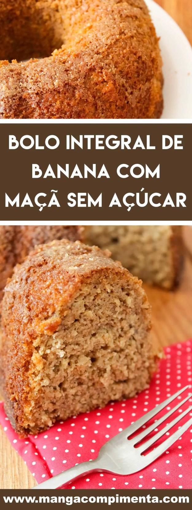 Receita de Bolo Integral de Banana com Maçã sem Açúcar - é uma verdadeira delícia!