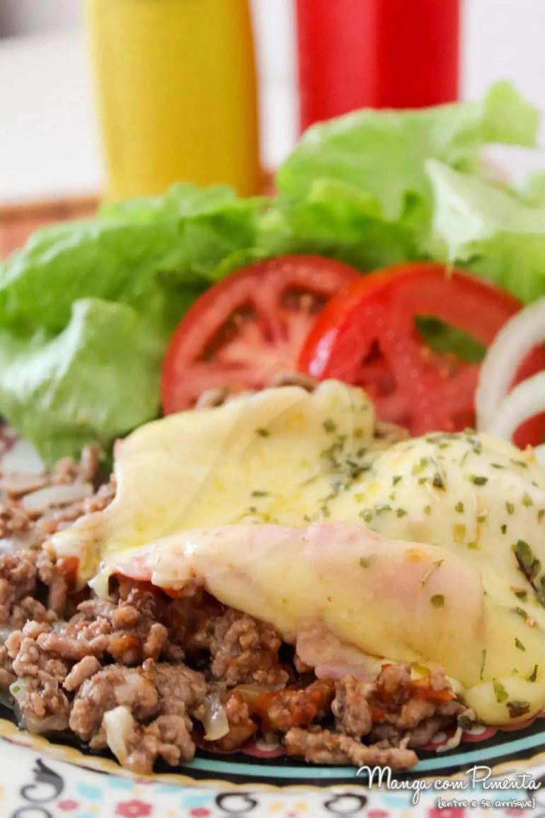 Carne Moída à Parmegiana com Presunto e Queijo