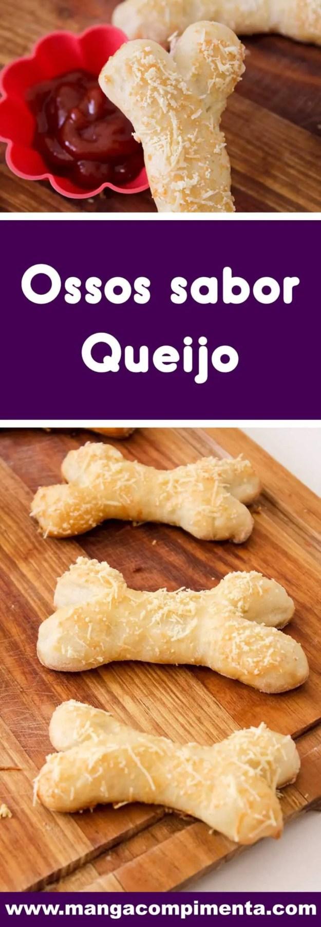 Receita de Petisco de Pão em formato de Ossos sabor Queijo - prepare para servir no dia das bruxas nesse Halloween.