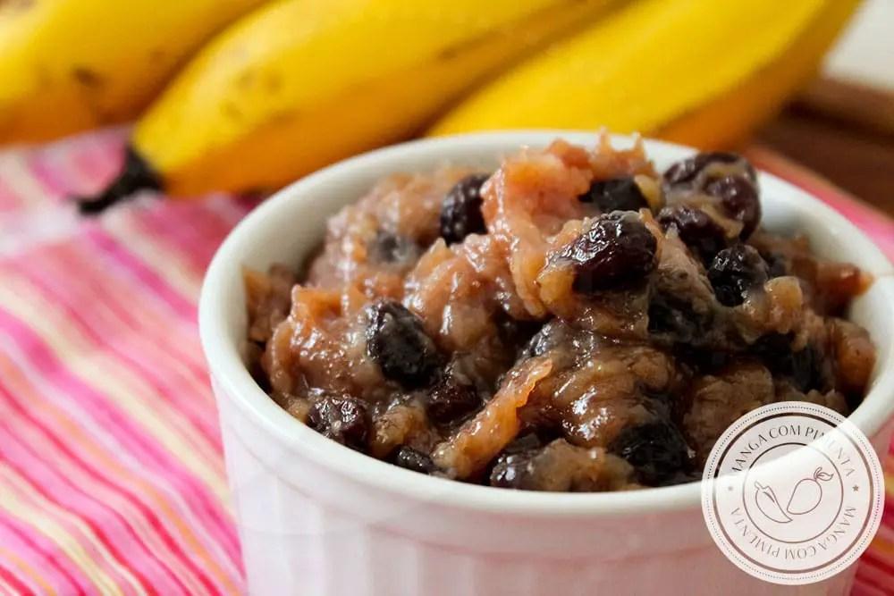Doce de Banana com Uvas Passas | Reciclando Comida - bananas maduras e uvas passas do Natal passado para o lanche da tarde.