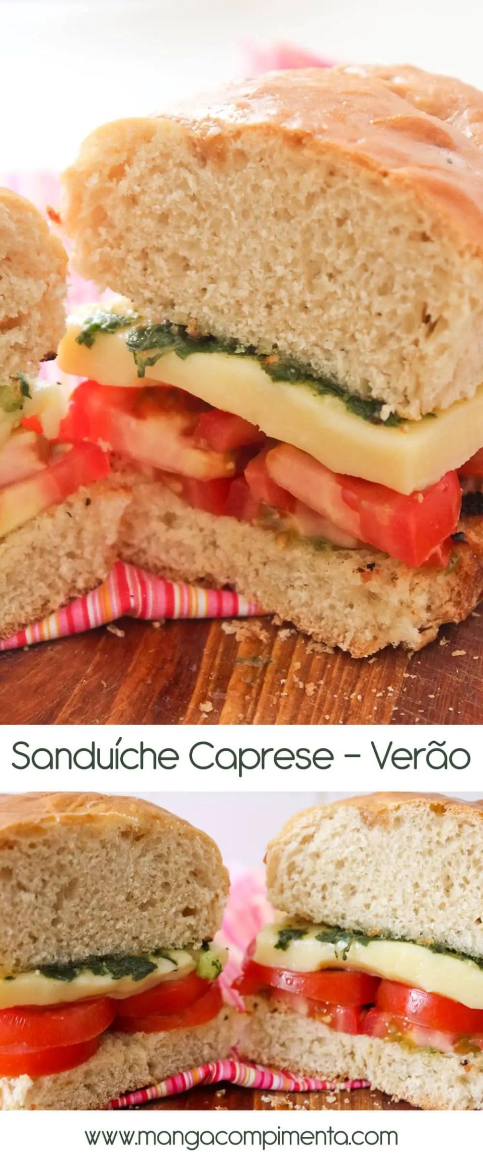 Lanche para qualquer hora: Sanduíche Caprese com Pesto - Receitas de Verão