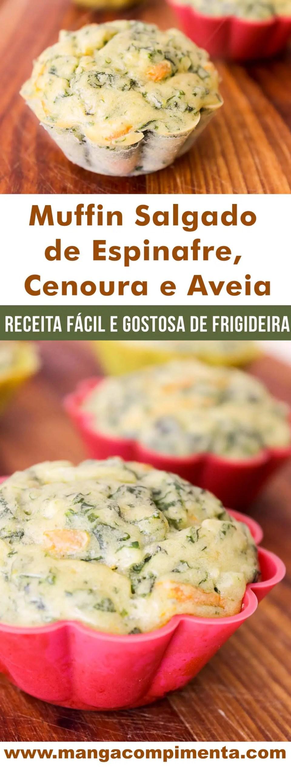 Muffin Salgado de Espinafre, Cenoura e Aveia - um petisco perfeito para o lanche da tarde!
