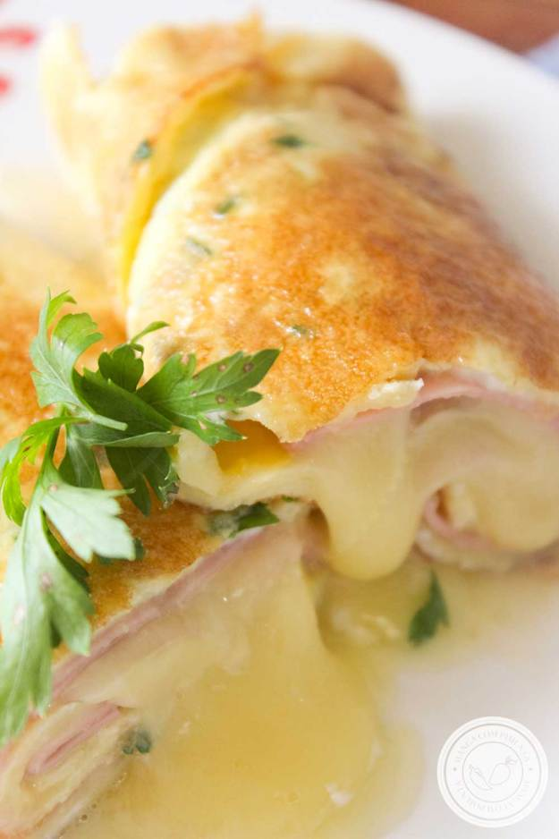Panqueca de Omelete Recheado com Queijo e Presunto