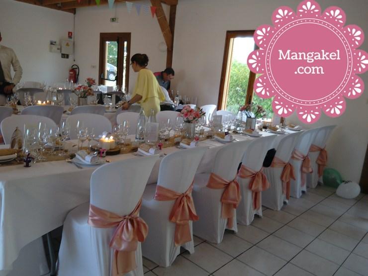 mariage, salle de réception, décoration, chaises noeuds en satin, Touraine Loire Valley