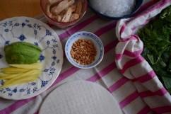 ingrédients pour les rouleaux de printemps