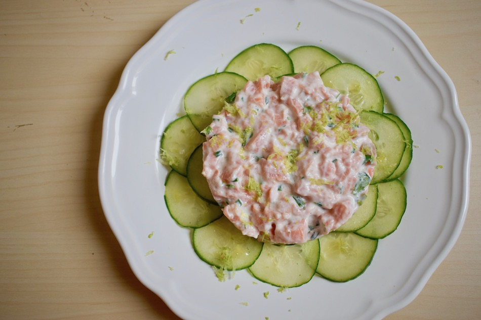 tartare de saumon au lait de coco & carpaccio de concombre