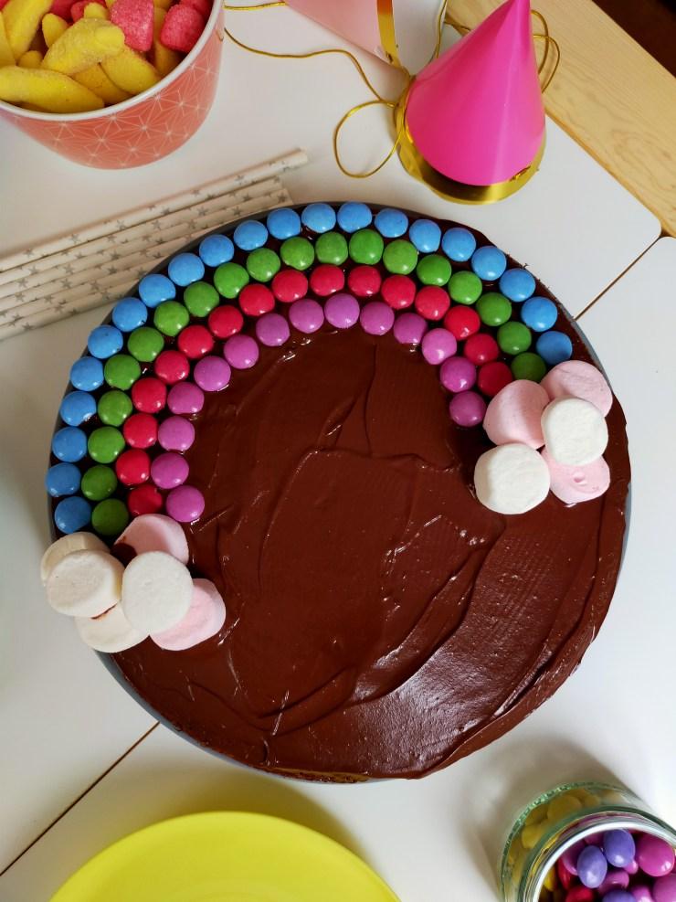 Gâteau arc-en-ciel : fondant choco-caramel, ganache tout chocolat