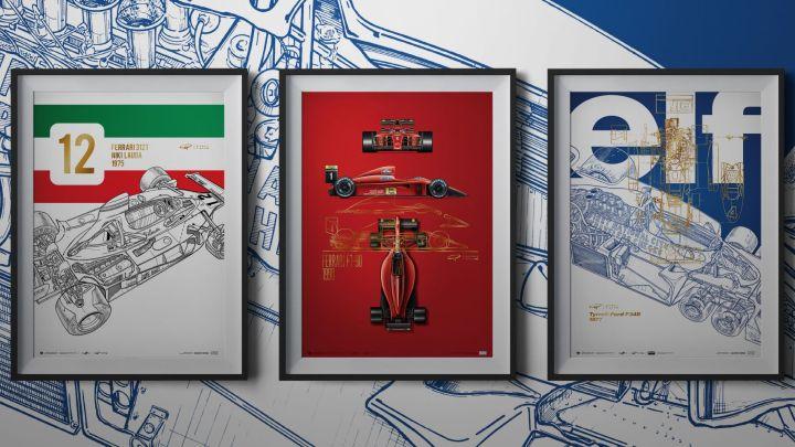 Nejnovější plakáty Automobilist zachycují díla legendárního ilustrátora formule 1 Giorgia Pioly