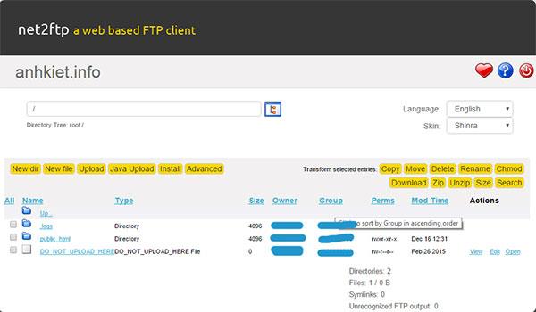 Giao diện trang quản lý file của Net2FTP