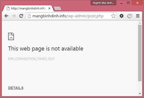 Mạng Bình Định thường xuyên bị mất kết nối đến máy chủ Hostinger
