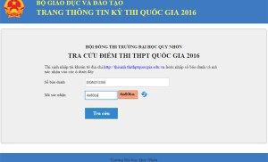 Hướng dẫn tra cứu điểm thi THPT Quốc gia 2016 hội đồng thi trường Đại học Quy Nhơn