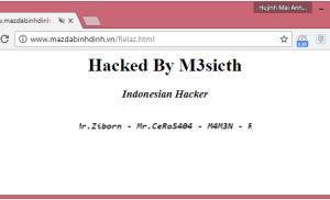 """Website của Mazda Bình Định bị hacker """"hỏi thăm"""""""
