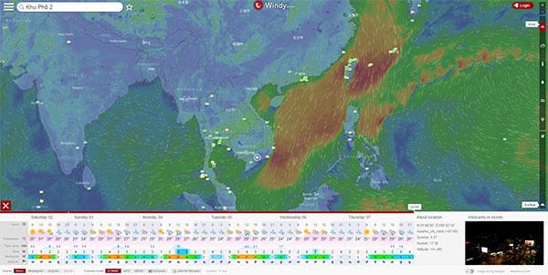 Xem dự báo thời tiết trực tuyến tại Windy.Com