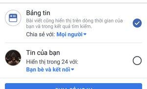 Hai lựa chọn khi đăng bài lên Facebook