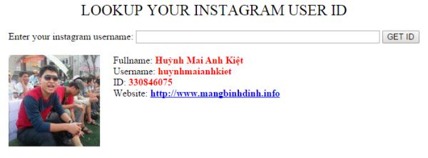Lookup your instagram user ID