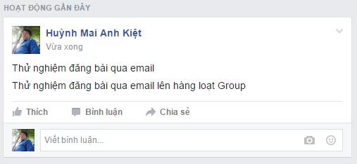 Bài được post thành công lên group