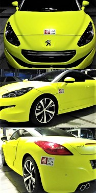 wrapping-stiker-mobil-bandung-peugeot-brimstone-yellow-keren-mangele-sticker