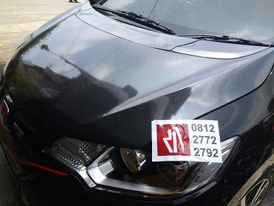 wrapping stiker mobil | carbon kap mesin jazz di bandung | 081227722792