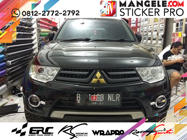 pajero chrome hitam doff logo gold matt spion hitam gloss