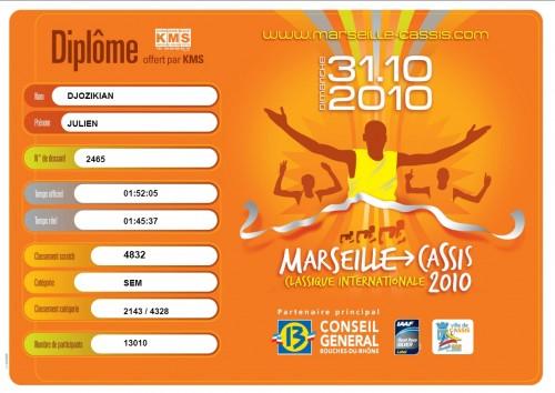 Diplôme course Marseille Cassis 2010