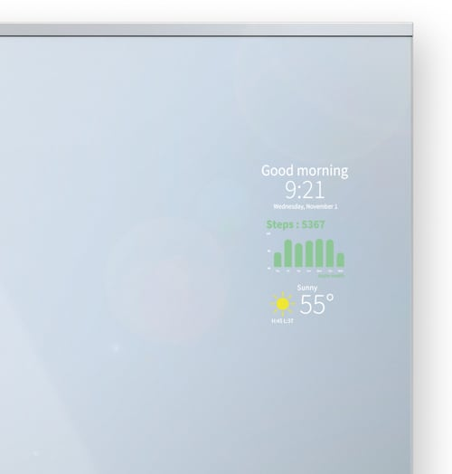 Smart Mirror displaying weather, health, time and more..