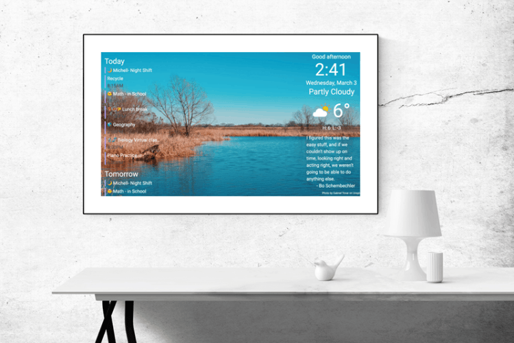 A family calendar display that displays events from your google calendar.