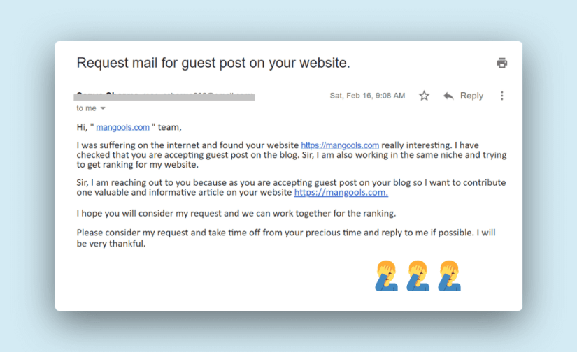 very bad guest post outreach email