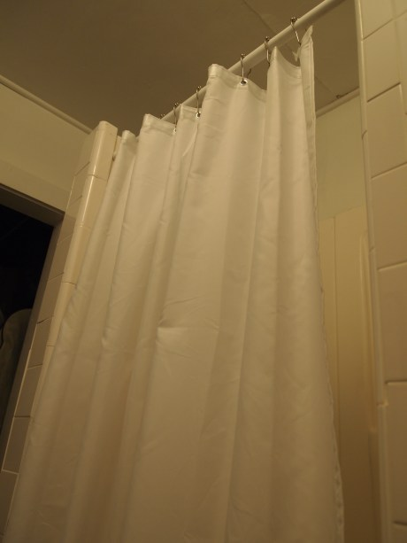 diy shower curtain fix for small stall