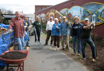The crew of volunteers who worked for several hours to spruce up the Manhan Rail Trail May 3, 2014.
