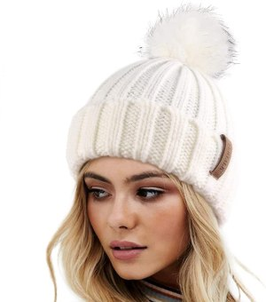 FURTALK Faux Fur Knitted Beanie