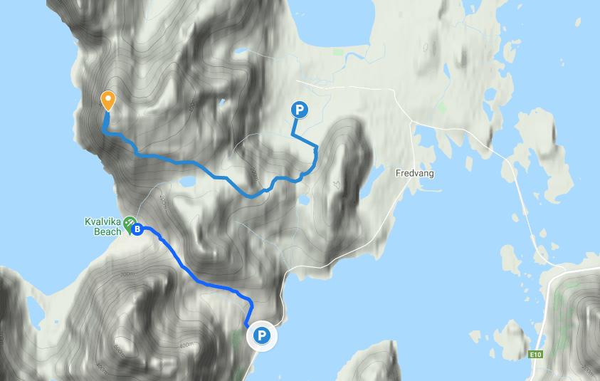 Map of the trail for hiking Ryten and Kvalvika Beach, Lofoten, Norway