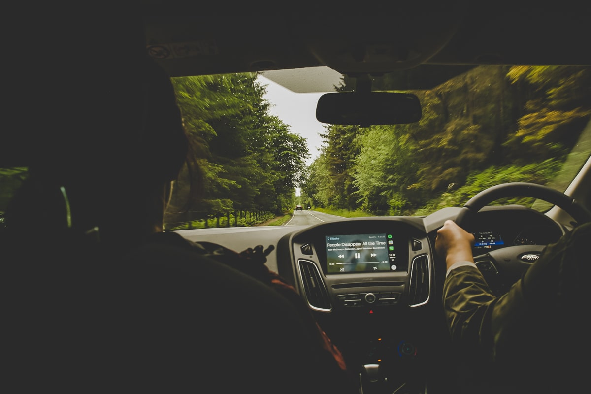 Car driving on a Scotland Road Trip