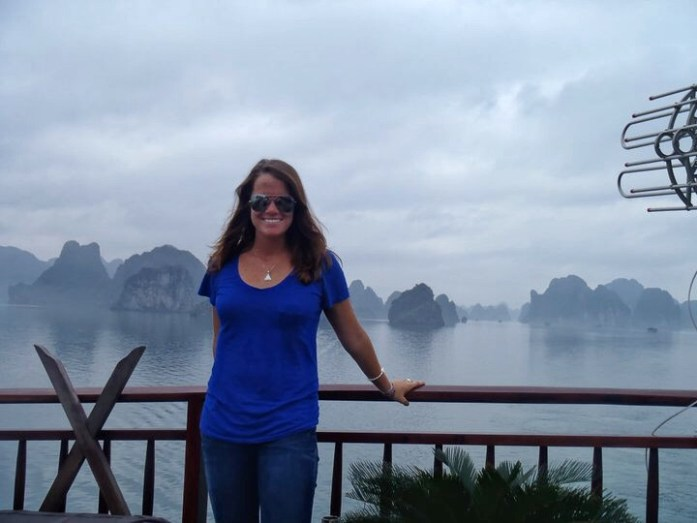 Even on a gloomy day, Ha Long Bay in Vietnam is beautiful.