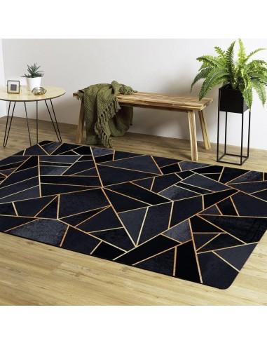 tapis de salon moderne grafic noir dore lavable en machine et antiderapant