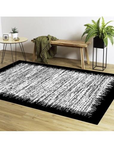 tapis moderne lavable et antiderapant gris noir