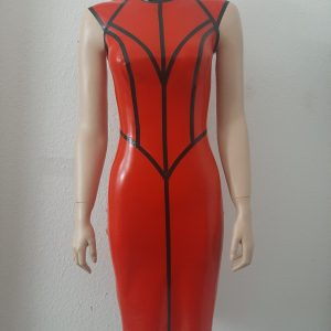 Vaine Dress_rot transp./schwarz_Maniac Latex