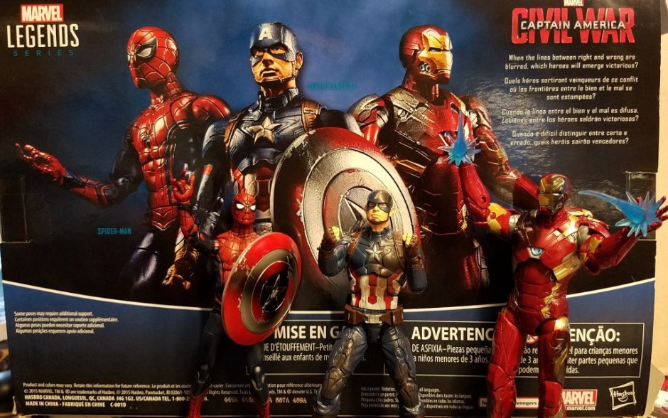 Marvel Legends Civil War 3pak Captain America, Iron Man, Spider-Man
