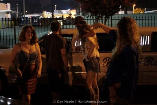 Bucc patrons gathered around Paula & Raiford's limo