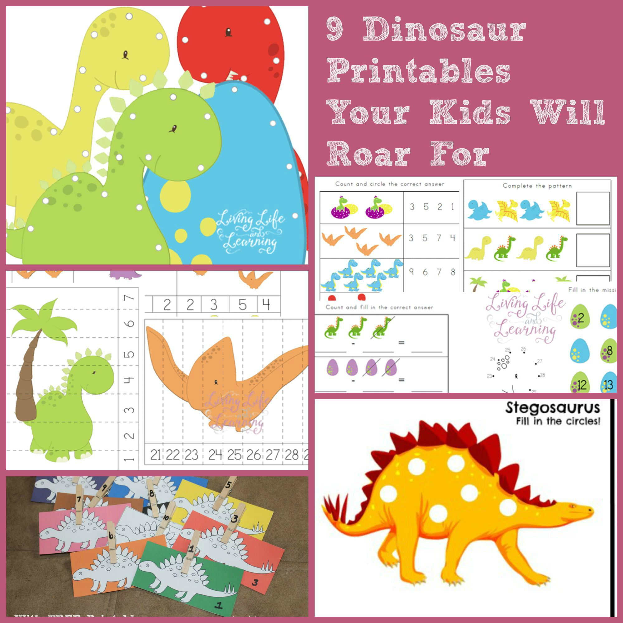 9 Dinosaur Printables To Roar For