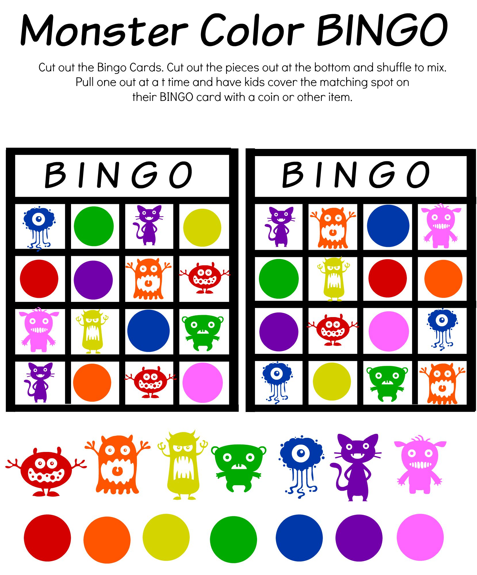 Monster Math And Bingo Printables