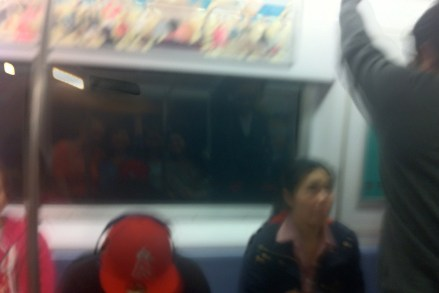 This is Judy's attempt for an artsy subway shot--perhaps you can (barely) make out our reflections in the window.